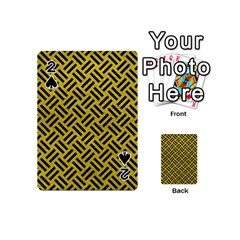 Woven2 Black Marble & Yellow Leather Playing Cards 54 (mini)