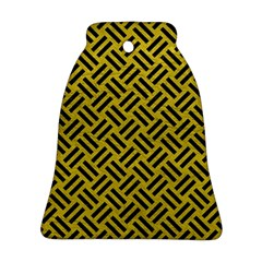 Woven2 Black Marble & Yellow Leather Ornament (bell)