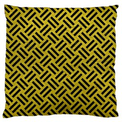 Woven2 Black Marble & Yellow Leather Large Cushion Case (two Sides)