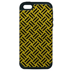 Woven2 Black Marble & Yellow Leather Apple Iphone 5 Hardshell Case (pc+silicone)