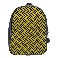 Woven2 Black Marble & Yellow Leather School Bag (xl)