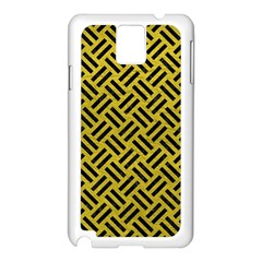 Woven2 Black Marble & Yellow Leather Samsung Galaxy Note 3 N9005 Case (white)