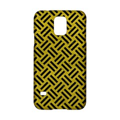 Woven2 Black Marble & Yellow Leather Samsung Galaxy S5 Hardshell Case