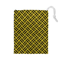 Woven2 Black Marble & Yellow Leather Drawstring Pouches (large)