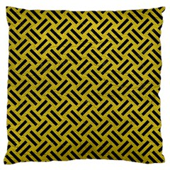Woven2 Black Marble & Yellow Leather Standard Flano Cushion Case (one Side)