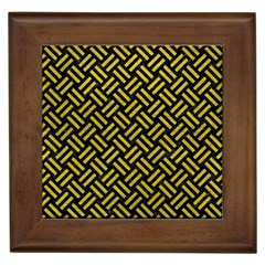Woven2 Black Marble & Yellow Leather (r) Framed Tiles
