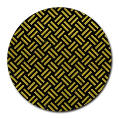 Woven2 Black Marble & Yellow Leather (r) Round Mousepads