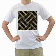 Woven2 Black Marble & Yellow Leather (r) Men s T Shirt (white) (two Sided)
