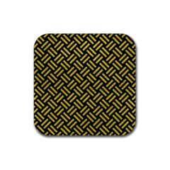 Woven2 Black Marble & Yellow Leather (r) Rubber Coaster (square)