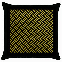 Woven2 Black Marble & Yellow Leather (r) Throw Pillow Case (black)