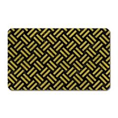 Woven2 Black Marble & Yellow Leather (r) Magnet (rectangular)