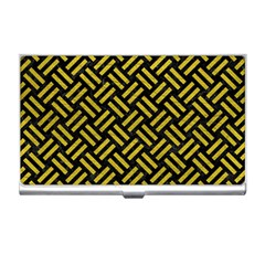 Woven2 Black Marble & Yellow Leather (r) Business Card Holders