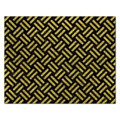 Woven2 Black Marble & Yellow Leather (r) Rectangular Jigsaw Puzzl