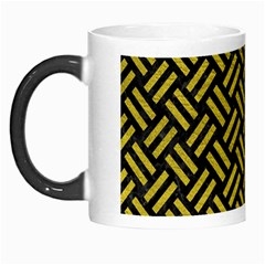Woven2 Black Marble & Yellow Leather (r) Morph Mugs