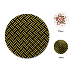 Woven2 Black Marble & Yellow Leather (r) Playing Cards (round)