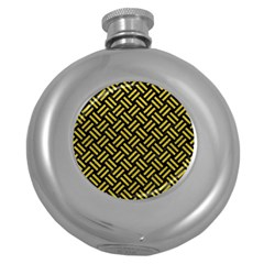 Woven2 Black Marble & Yellow Leather (r) Round Hip Flask (5 Oz)