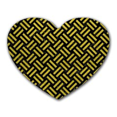 Woven2 Black Marble & Yellow Leather (r) Heart Mousepads