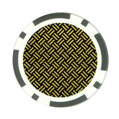 Woven2 Black Marble & Yellow Leather (r) Poker Chip Card Guard
