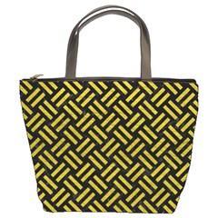 Woven2 Black Marble & Yellow Leather (r) Bucket Bags