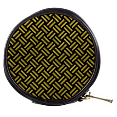 Woven2 Black Marble & Yellow Leather (r) Mini Makeup Bags