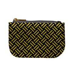 Woven2 Black Marble & Yellow Leather (r) Mini Coin Purses