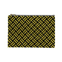 Woven2 Black Marble & Yellow Leather (r) Cosmetic Bag (large)