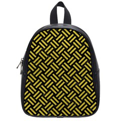 Woven2 Black Marble & Yellow Leather (r) School Bag (small)