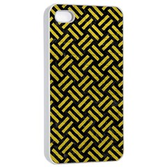 Woven2 Black Marble & Yellow Leather (r) Apple Iphone 4/4s Seamless Case (white)