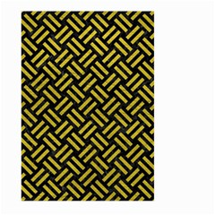 Woven2 Black Marble & Yellow Leather (r) Large Garden Flag (two Sides)