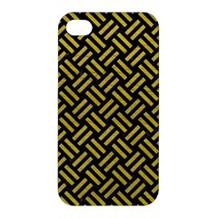Woven2 Black Marble & Yellow Leather (r) Apple Iphone 4/4s Premium Hardshell Case