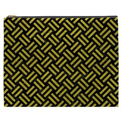 Woven2 Black Marble & Yellow Leather (r) Cosmetic Bag (xxxl)