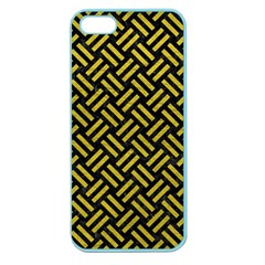 Woven2 Black Marble & Yellow Leather (r) Apple Seamless Iphone 5 Case (color)