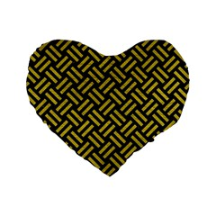 Woven2 Black Marble & Yellow Leather (r) Standard 16  Premium Heart Shape Cushions