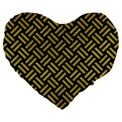 Woven2 Black Marble & Yellow Leather (r) Large 19  Premium Heart Shape Cushions