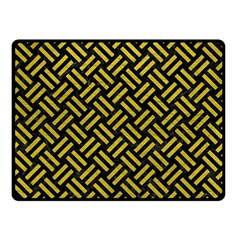 Woven2 Black Marble & Yellow Leather (r) Double Sided Fleece Blanket (small)