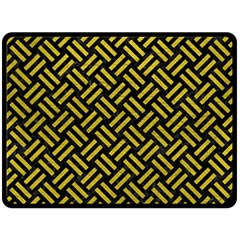 Woven2 Black Marble & Yellow Leather (r) Double Sided Fleece Blanket (large)