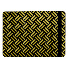 Woven2 Black Marble & Yellow Leather (r) Samsung Galaxy Tab Pro 12 2  Flip Case