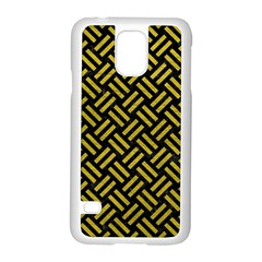 Woven2 Black Marble & Yellow Leather (r) Samsung Galaxy S5 Case (white)