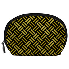 Woven2 Black Marble & Yellow Leather (r) Accessory Pouches (large)