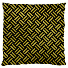 Woven2 Black Marble & Yellow Leather (r) Large Flano Cushion Case (two Sides)