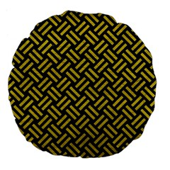 Woven2 Black Marble & Yellow Leather (r) Large 18  Premium Flano Round Cushions