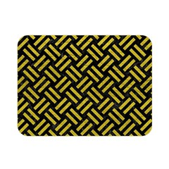 Woven2 Black Marble & Yellow Leather (r) Double Sided Flano Blanket (mini)