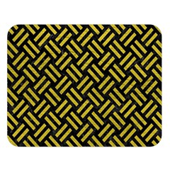 Woven2 Black Marble & Yellow Leather (r) Double Sided Flano Blanket (large)