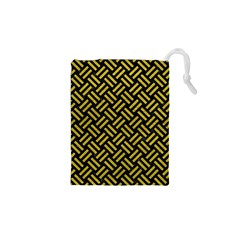 Woven2 Black Marble & Yellow Leather (r) Drawstring Pouches (xs)