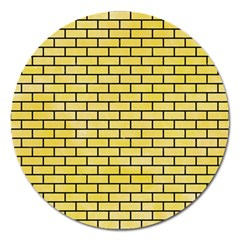 Brick1 Black Marble & Yellow Watercolor Magnet 5  (round)