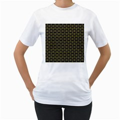 Brick1 Black Marble & Yellow Watercolor (r) Women s T Shirt (white) (two Sided)