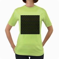 Brick1 Black Marble & Yellow Watercolor (r) Women s Green T Shirt
