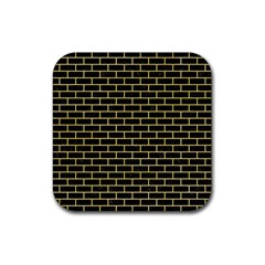 Brick1 Black Marble & Yellow Watercolor (r) Rubber Square Coaster (4 Pack)
