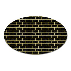 Brick1 Black Marble & Yellow Watercolor (r) Oval Magnet