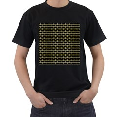 Brick1 Black Marble & Yellow Watercolor (r) Men s T Shirt (black) (two Sided)